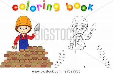 Young Builder Or Engineer In A Uniform And Helmet With Trowel Near The Brick Wall. Connect Dots And