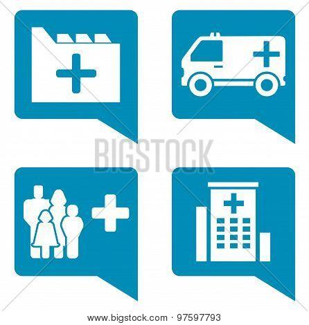 medical blue icon set