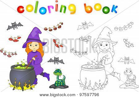 Pretty Friendly Witch Brews A Potion. Magic Potion Boils In A Cauldron. Dried Mushrooms Are Hanging