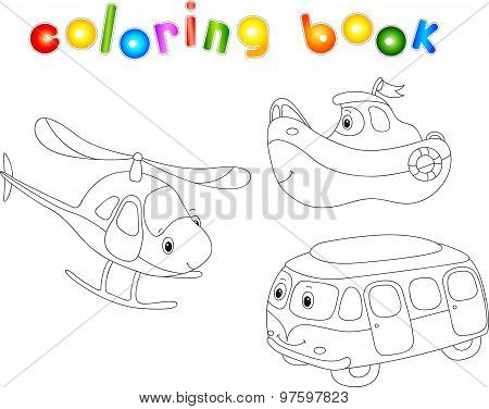 Set Of Bus, Ship And Helicopter. Coloring Book For Children