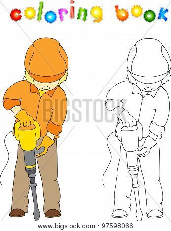 Worker In Overalls And Helmet With With Jackhammer. Coloring Book. Game For Children