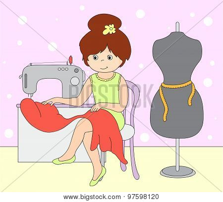 Pretty Cute Seamstress Is Sitting At The Sewing Machine. Mannequin Standing Beside The Girl