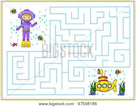 Help The Diver Go Through A Maze And Find Yellow Submarine In The Ocean