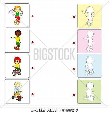Boys Ride Bicycles And A Skateboard. Educational Game For Kids