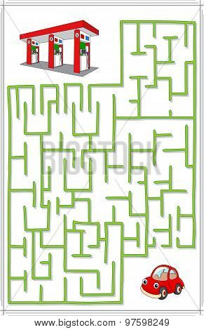 Help The Car Go Through A Maze And Find Petrol Station