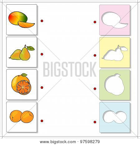 Mango, Pear, Orange And Apricot. Educational Game For Kids