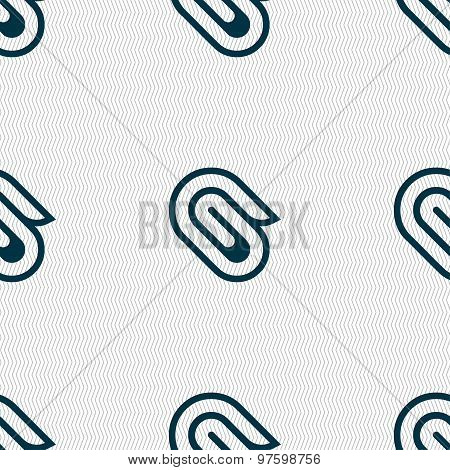 Paper Clip Icon Sign. Seamless Pattern With Geometric Texture. Vector