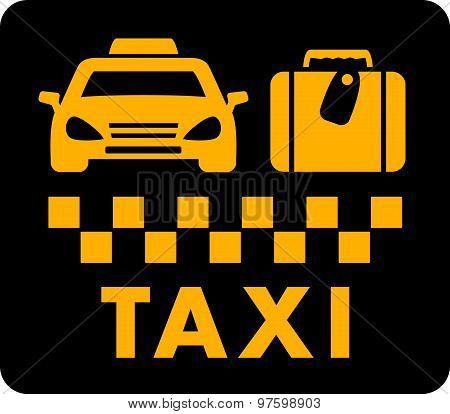 taxi blazon on black icon