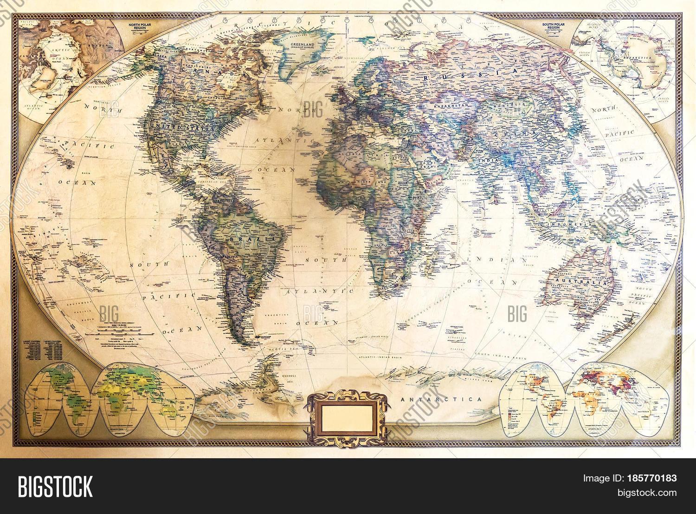 Detailed World Map Two Hemispheres Image Photo Bigstock