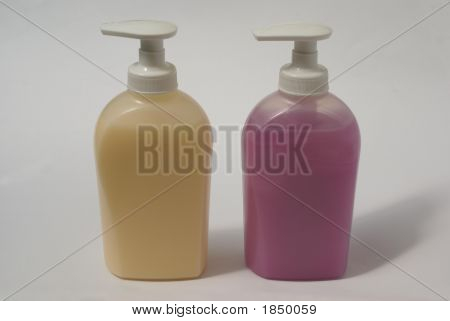 Bottles Or Containers Of Hand Wash. Liquid Soap. Hygiene
