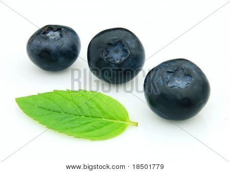 Bilberry with leaves of mint