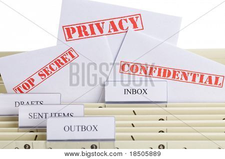 Symbol for e-mail privacy - a file folder with inbox, outbox and spam
