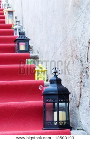 Laterns on red stairs