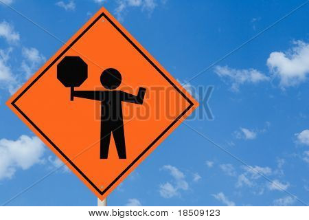 Flagman Ahead Sign