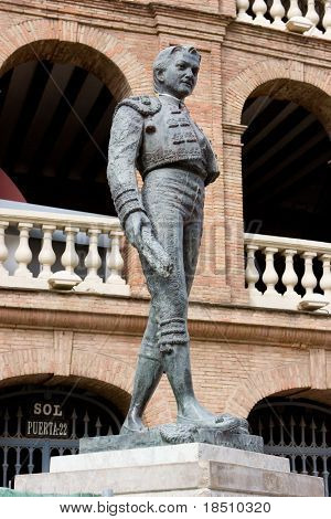 A Matador Statue outside the Bull Ring in Valencia, Spain