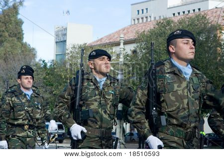 VALENCIA, SPAIN - DECEMBER 19: Spain's Regiment Lusitania 8 (Marines) celebrate their 300 year anniversary with a military parade on December 19, 2009 in Valencia, Spain.