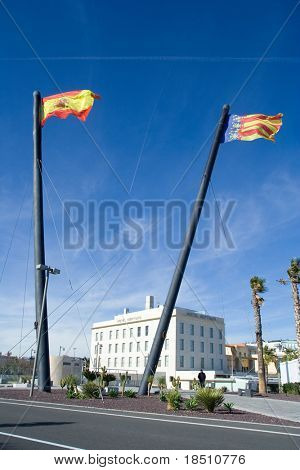 VALENCIA, SPAIN - JANUARY 20: The flags of Spain and Valencia in the port of Valencia. Home of the 33rd America's Cup sailing event (February 8, 2010), on January 20, 2010 in Valencia, Spain.