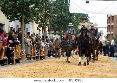 VALENCIA, SPAIN - JANUARY 24: Horses and riders in custom Spanish dress ride in the San Antonio parade on January 24, 2010 in Valencia, Spain.