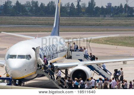 VALENCIA, SPAIN - JUNE 3: Ryanair will charge 20 euros each way for the first checked bag in July and August, up from 15 euros.  A Ryanair Aircraft on June 3, 2010 in Valencia, Spain.