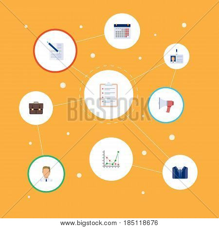 Flat Calendar, Diagram, Portfolio And Other Vector Elements. Set Of Business Flat Symbols Also Includes Calendar, Case, Task Objects.