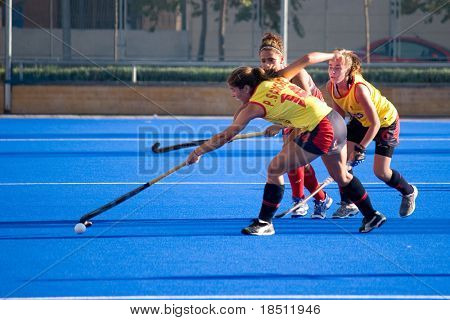 VALENCIA, SPAIN - JULY 27: Spain's National Women's Field Hockey Team plays the USA National Women's Team on July 27, 2010 in Valencia, Spain.