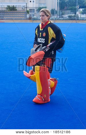 VALENCIA, SPAIN - JULY 30: Spain's National Women's Field Hockey Goal keeper, Maria Lopez de Eguilaz, just before playing the USA National Women's Team on July 30, 2010 in Valencia, Spain.
