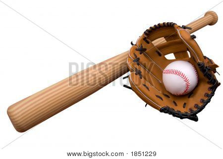 Baseball Glove,Bat And Ball On Grass