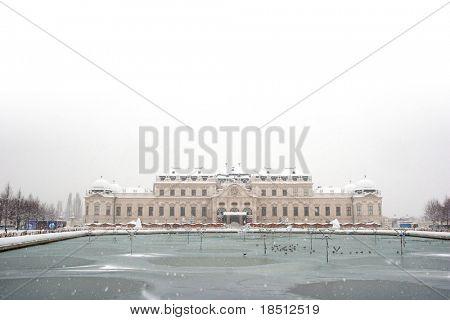 Vienna summer palace Belvedere Castle in winter