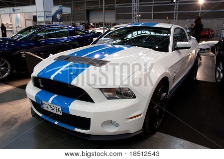 VALENCIA, SPAIN - DEC. 8: A 2010 Mustang Shelby GT 500 at the Valencia Car Show on December 8, 2010 in Valencia, Spain.