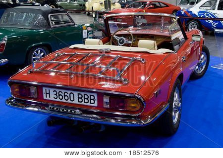 VALENCIA, SPAIN - OCTOBER 22: A British Triumph Spitfire 1500 is on display at the 2010 Motor Epoca Classic Car Show on October 22, 2010 in Valencia, Spain.