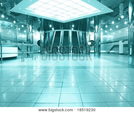 business hall with escalators