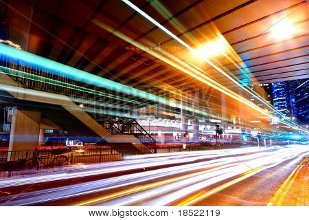 light trails in mega city