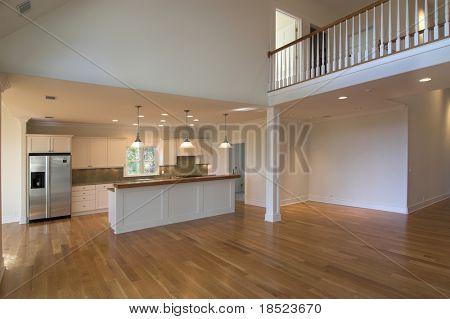 open livingroom looking into kitchen
