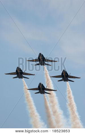 blue angels, flying aerial maneuvers at beaufort sc marine corp air station, april 07