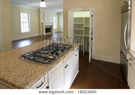 elegante Küche und Wohnzimmer offene Grundriss mit offenen Speisekammer