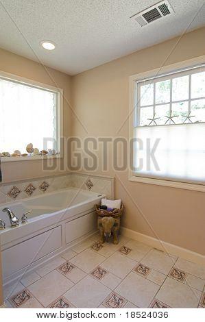 simple elegant bathroom with tile floor and backsplash