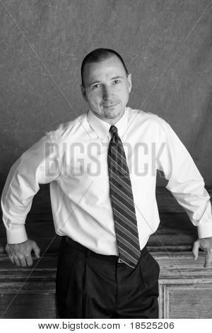 businessman or teacher, casual black and white