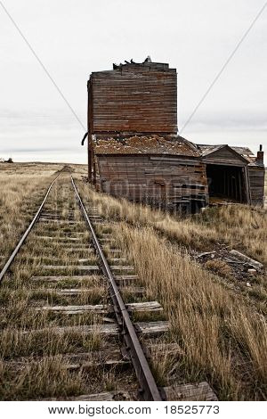 abandoned railroad and depot in South Dakota usa