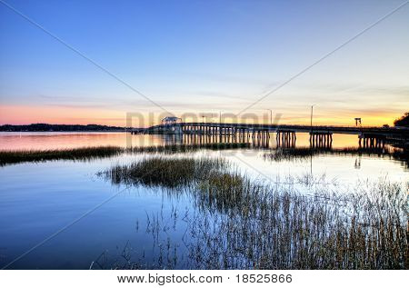 draw bridge in beaufort sc, hdr image