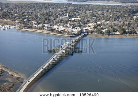 aerial view of downtown area and bridge of Beaufort, South Carolina, USA