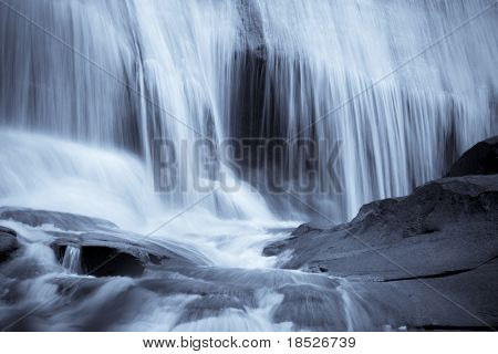 closeup of water flowing over falls, time exposure