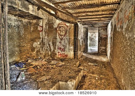 rusted interior of abandoned military bunker