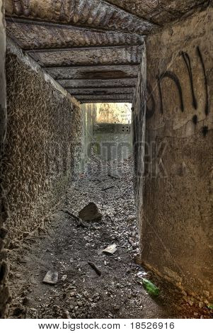 interior of abandoned, vandalized military bunker