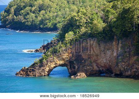 land bridge over ocean, st lucia, caribbean