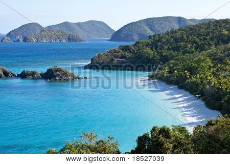 low aerial view of trunk bay, us virgin islands