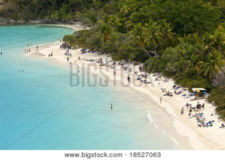 populated beach, trunk bay, us virgin islands