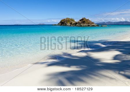view of trunk bay with shadow of palm tree on beach