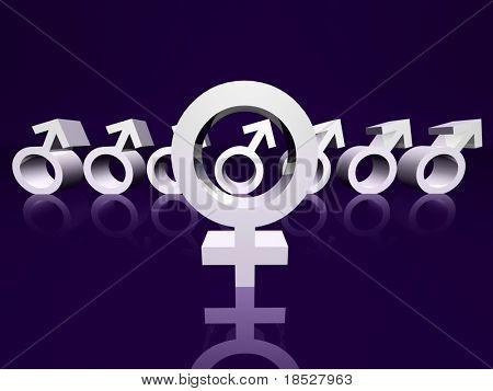 Eine weibliche Stelle ein Mann aus einer Gruppe von Männern