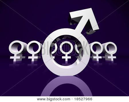 Eine männliche Stelle ein Weibchen aus einer Gruppe von Frauen
