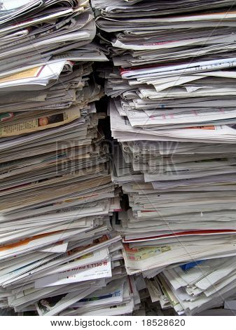 Two big stack of newspapers